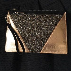 New! Express Gold glitter shimmer clutch/Wristlet